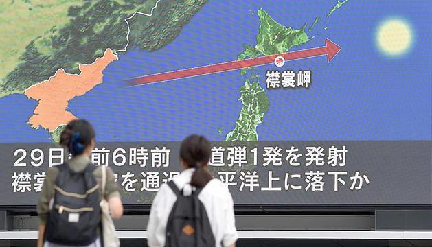 El recorregut del projectil que va sobrevolar el Japó.