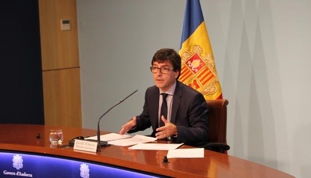 El ministre portaveu, Jordi Cinca, durant la roda de premsa d'aquesta tarda