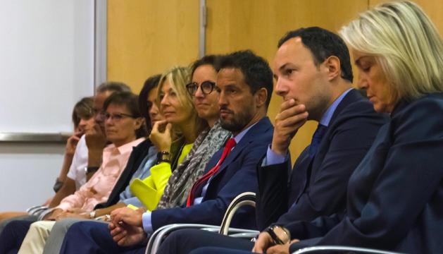El ministre d'Afers Socials, Justícia i Interior, Xavier Espot, durant l'acte sobre l'EENSM d'avui al migdia.