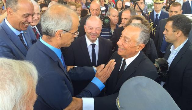 Trobada del cap de Govern, Toni Martí, amb el president de Portugal, Marcelo Rebelo de Sousa, en presència de l'alcalde de Ponte de Lima i de l'ambaixador d'Andorra a Portugal.