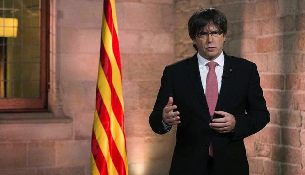 Carles Puigdemont, ahir.