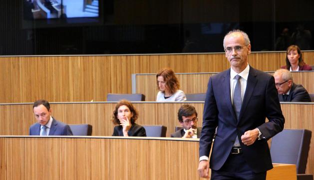 El cap de Govern, Toni Martí, durant el discurs del debat d'orientació política.