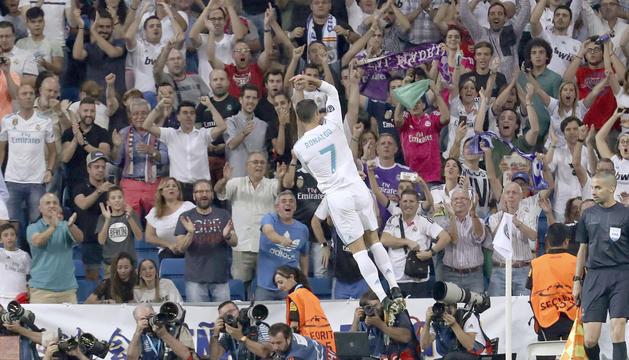 El portuguès Ronaldo en plena celebració marca de la casa.