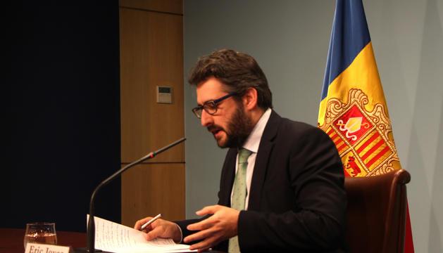El ministre d'Educació i Ensenyament Superior, Eric Jover, en la roda de premsa per anunciar l'acord per a l'adhesió al conveni de la Unesco sobre la no discriminació en l'ensenyament.
