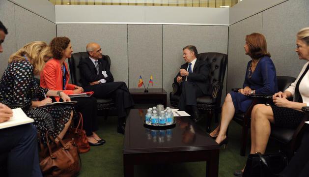 Toni Martí, amb el president de Colòmbia, Juan Manuel Santos.