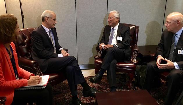Toni Martí amb el primer ministre portuguès, António Costa, aquest dimarts a les Nacions Unides.