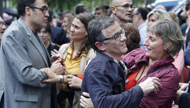 Josep Maria Jové i Lluís Salvadó, ahir després de ser posats en llibertat.
