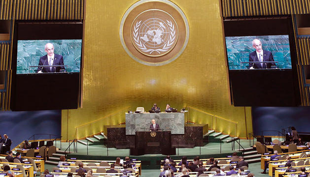 Toni Martí durant el discurs que va fer anit a l'Assemblea General de l'ONU a Nova York.