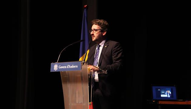 El ministre d'Educació i Ensenyament Superior, Eric Jover, durant l'acte d'innauguració del curs escolar.