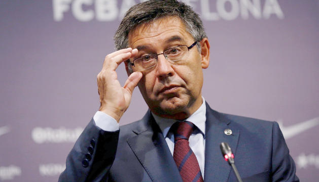 El president del Futbol Club Barcelona, Josep Maria Bartomeu, durant la compareixença d'ahir.