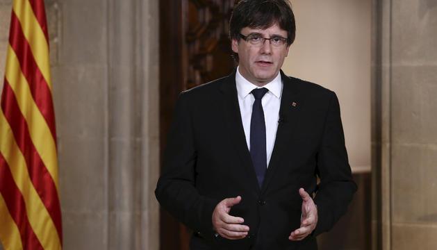 Puigdemont, ahir durant el discurs des de la Generalitat.