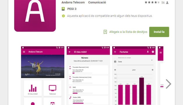 Imatge de l'app de la companyia.