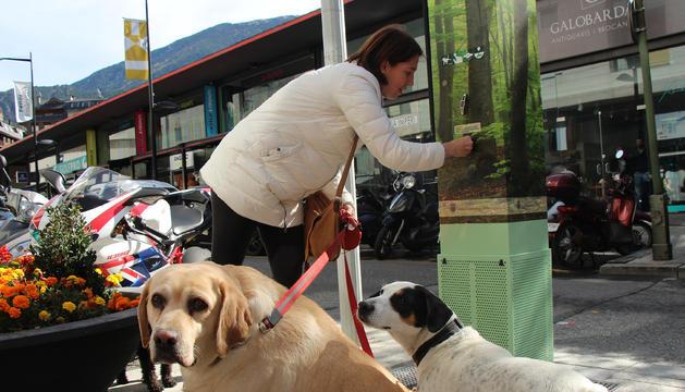Una dona recull la galeta per premiar els gossos quan orinen a la reixa de la màquina.