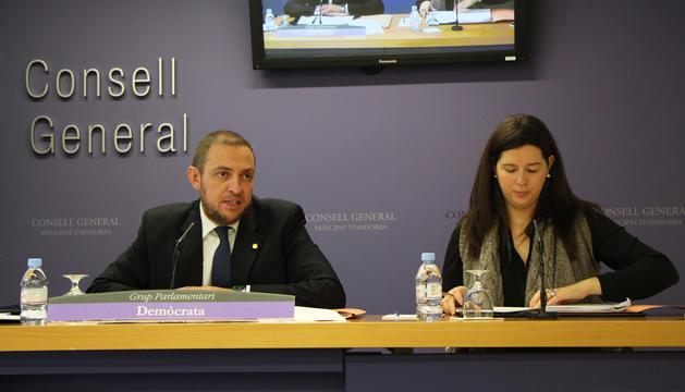 Els consellers demòcrates Josep Anton Bardina i Maria Martisella durant la presentació de les proposicions de llei.