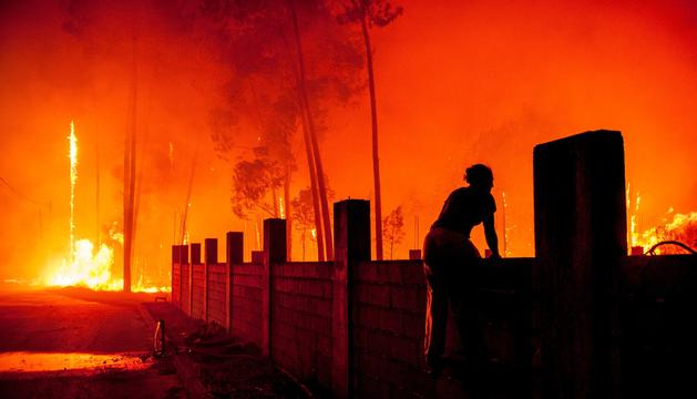 El foc declarat a Vieira de Leiria, a Marinha Grande (Portugal).