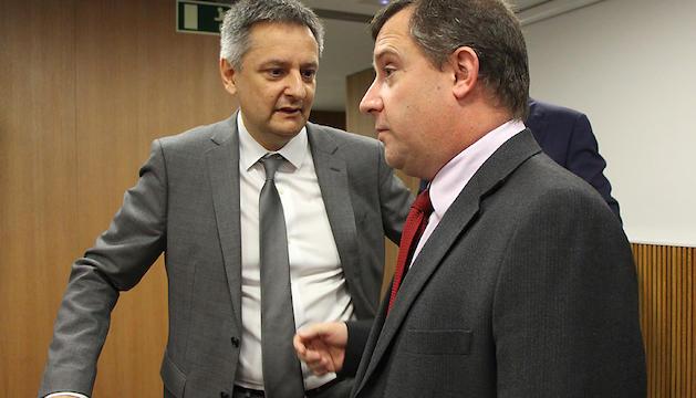 El ministre d'Economia, Competitivitat i Innovació, Gilbert Saboya i el conseller liberal Josep Majoral.