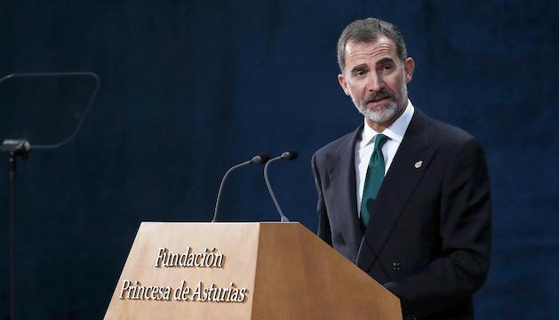 Felip VIdurant el discurs que va oferir en la cerimònia de lliurament dels premis Princesa d'Astúries.