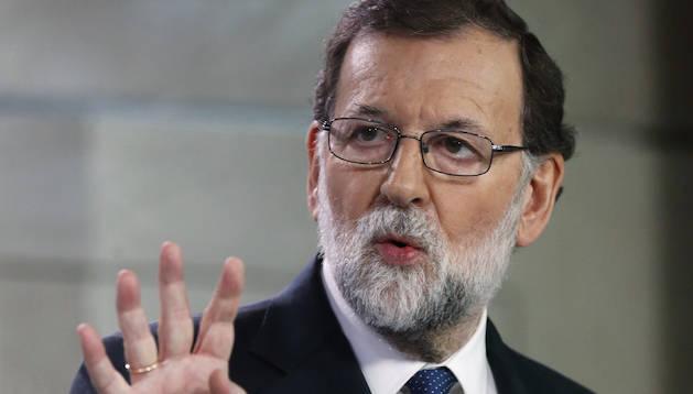 Mariano Rajoy va comparèixer davant dels mitjans per explicar l'aplicació de l'article 155.