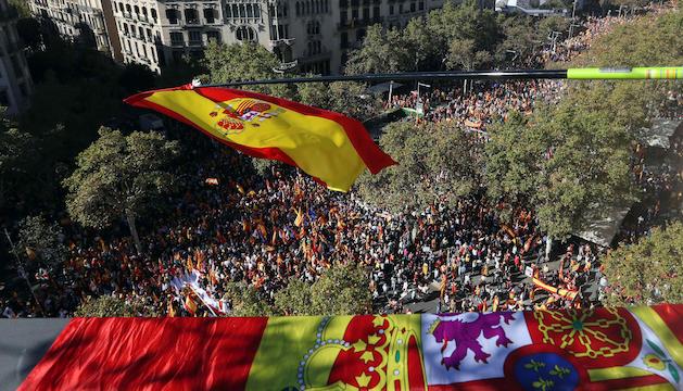 La manifestació en defensa de la unitat d'Espanya, ahir a Barcelona.