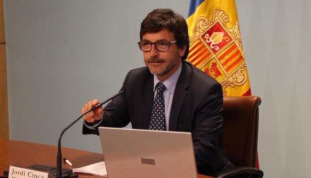 El ministre portaveu, Jordi Cinca, en la roda de premsa posterior al consell de ministres.