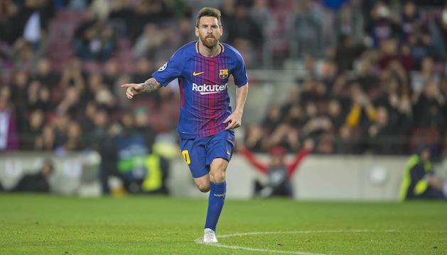 Leo Messi celebra un gol aquesta temporada amb la samarreta del Barça.