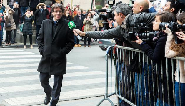 El president català, destuït pel govern espanyol, abans de comparèixer a Brussel·les.