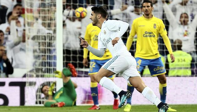 Marco Asensio celebra el seu gol davant Las Palmas d'ahir.
