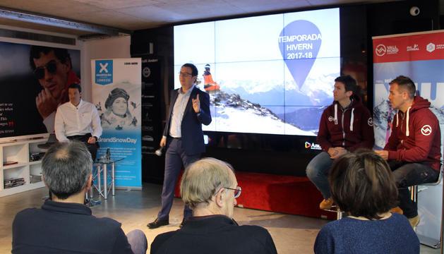 El gerent d'Andorra Turisme, Betim Budzaku, inicia la presentació de la temporada d'hivern de les estacions d'esquí.