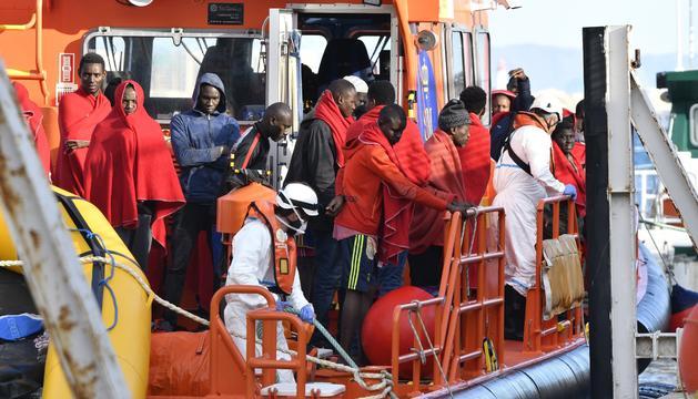 Persones d'origen subsaharià, rescatades ahir a Espanya.