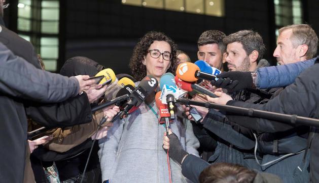 Marta Rovira durant una compareixença davant la premsa, aquest dimarts.