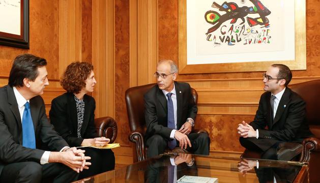 Un moment de la trobada d'aquest matí entre Toni Martí i Nicola Renzi.