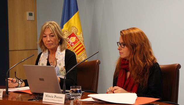 La secretària d'Estat d'Afers Socials i Ocupació, Ester Fenoll, i la cap d'àrea de Polítiques d'Igualtat, Mireia Porras