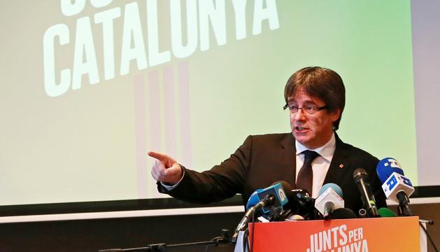 Carles Puigdemont va presentar ahir el seu partit a la ciutat belga de Bruges.