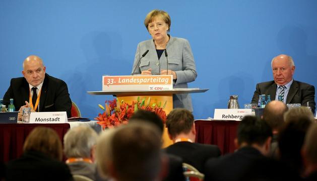 Merkel va pronunciar ahir un discurs al nord d'Alemanya.