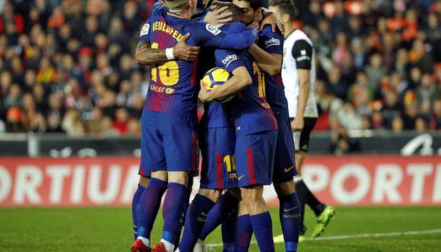 La celebració del gol del Barça.