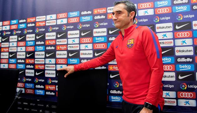 L'entrenador de l'FCBarcelona, Ernesto Valverde, en roda de premsa.