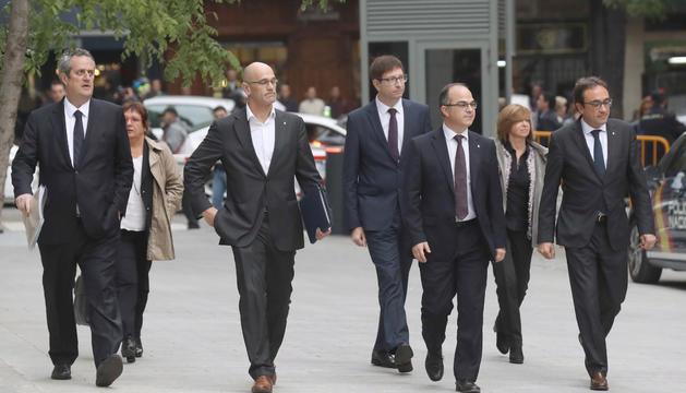Els ex-consellers catalans arribant a l'Audiència Nacional.