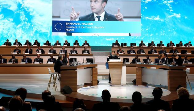 El copríncep francès i president de la República Francesa, Emmanuel Macron, durant la seva intervenció.