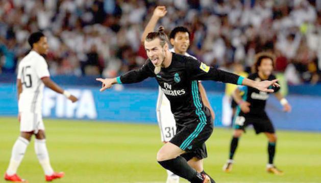 Bale celebrant el gol que donava la victòria al Madrid.