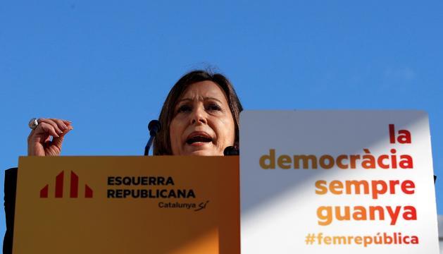 La presidenta del Parlament, Carme Forcadell, en el míting d'ERC a Mataró.