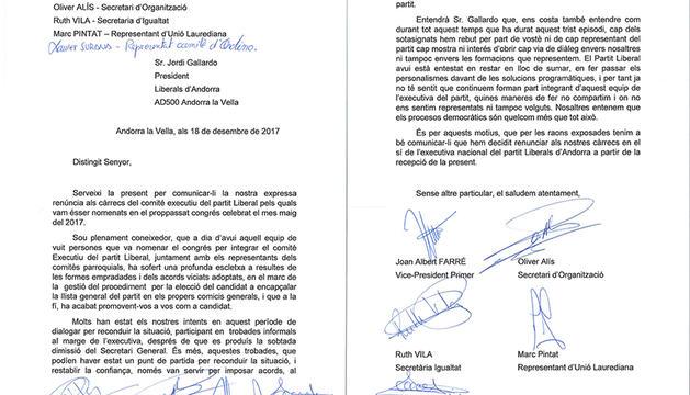 Carta de renúncia dels cinc membres de l'executiva liberal