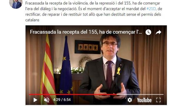 Captura del discurs de Puigdemont per YouTube.