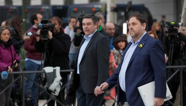 Junqueras entra a declarar a l'Audiència Nacional, al novembre.