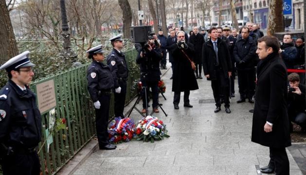 El president francès durant la cerimònia, ahir.