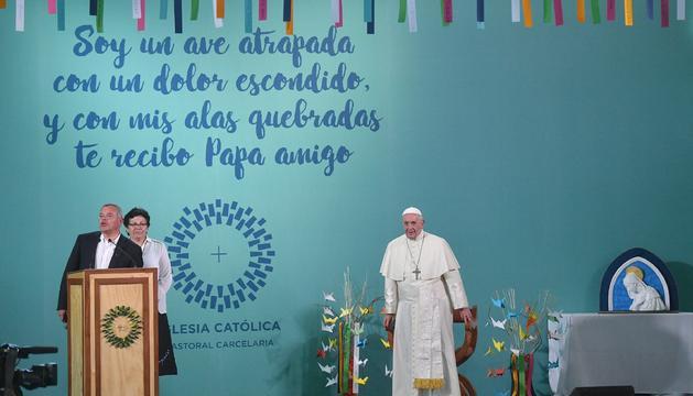El papa Francesc, ahir a Santiago de Xile.
