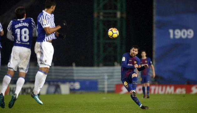 Lionel Messi diumenge passat a Anoeta, en lliga.