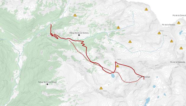 L'itinerari fins al pic de l'Estanyó.