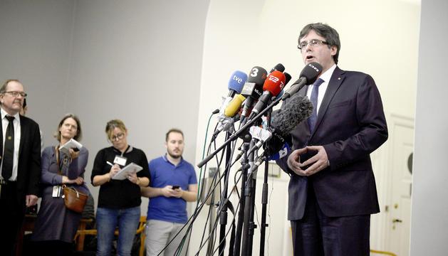 Carles Puigdemont, durant la roda de premsa que va oferir ahir a Copenhaguen.