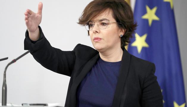 Soraya Sáenz de Santamaría, ahir en roda de premsa a la Moncloa.