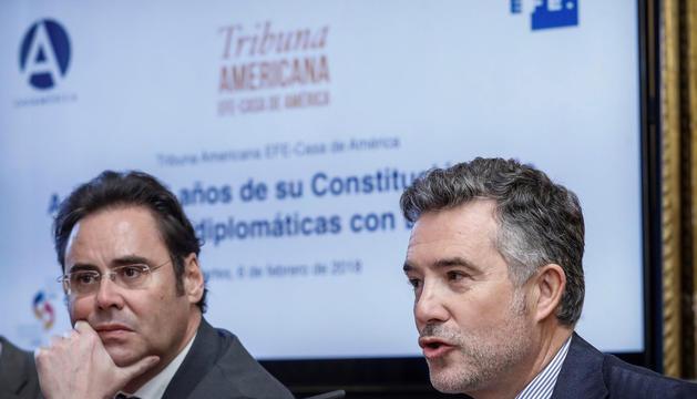 El síndic general, Vicenç Mateu, ahir durant el fòrum a Madrid
